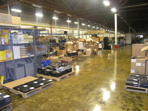 Photo of the Office of Property Management (OPM) warehouse located at the General Services Administration's complex in Springfield, Va.