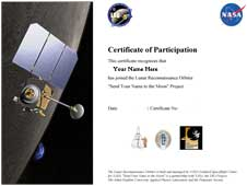 Send Your Name to the Moon certificate