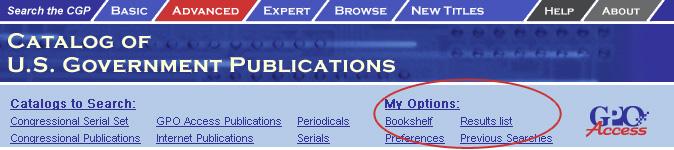 Search options screen shot