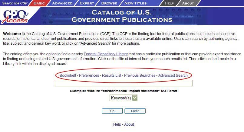 Basic Search screen shot