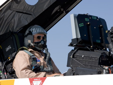 Pilot Tom Horne readies to fly an External Vision System from an F-18.