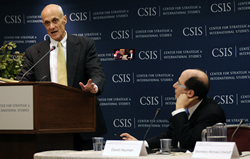 Secretary Chertoff delivers remarks on strengthening aviation security at the Center for Strategic and International Studies on November 17, 2008.