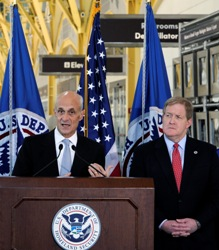 Department of Homeland Security Secretary Michael Chertoff speaks at a press conference for secure flight as Transportation Security Administration Administrator Kip Hawley stands next to him at Reagan National Airport Oct. 22.