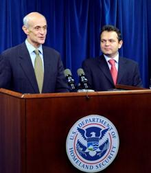 Department of Homeland Security Secretary Chertoff and Romanian Ambassador Adrian Vierita sign the Visa Waiver Program interim declaration on November 3, 2008 (DHS Photo/Cangemi)