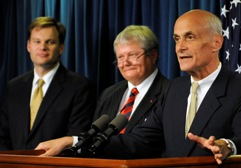 Secretary Chertoff and Estonian Minister of Justice Rein Lang, and U.S. Department of Justice Acting Assistant Attorney General for the Criminal Division Matthew Friedrich.