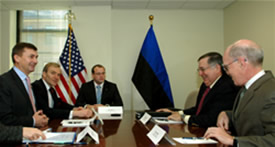 Acting Deputy Secretary Paul Schneider with Estonian Prime Minister Andrus Ansip