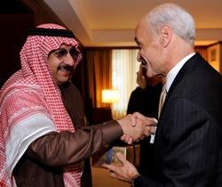 Secretary Chertoff presents a gift to Saudi Prince Muhammad bin Nayif on November 6, 2008 (DHS Photo/Cangemi)