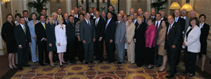 HSAC and Subcommittees pose with Secretary Chertoff at the June 25, 2008, meeting in Washington, DC.
