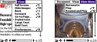 Screenshot of Adobe Reader in a Palm OS device