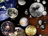 An image showing all of the moons and planets of the solar system