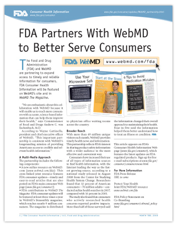 image of printer-friendly PDF version of this article, including small samples of FDA Consumer Updates about safe microwave use, tips for avoiding foodborne illness, and tips for avoiding medication errors.