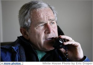 President George W. Bush speaks on the phone with Palestinian Authority Prime Minister Salam Fayyad from his office Tuesday, Dec. 30, 2008, at the ranch in Crawford, Texas, discussing ways to stop the violence in the Gaza Strip. White House photo by Eric Draper
