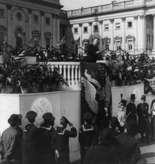 Theodore Roosevelt delivering his Inaugural address, March 4, 1905 (Library of Congress)