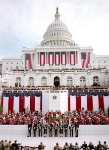 Ronald Reagan's Inaugural ceremony in progress on the west front of the U.S. Capitol, January 20, 1981 (Architect of the Capitol)