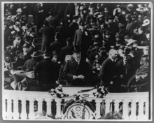 Woodrow Wilson delivering his Inaugural address, March 5, 1917 (Library of Congress)