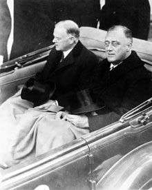 Franklin Delano Roosevelt and Herbert Hoover in convertible automobile on way to Capitol for Roosevelt's inauguration, March 4, 1933 (Architect of the Capitol)
