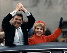 President and Mrs. Reagan during Inaugural parade, January 20, 1981 (Ronald Reagan Presidential Library, Simi Valley, California)