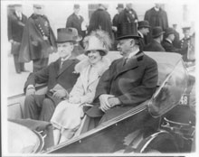 President Coolidge, Mrs. Coolidge and Senator Curtis on the way to the Capitol, March 4, 1925 (Library of Congress)