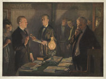 Calvin Coolidge taking the oath of office, August 3, 1923 (Library of Congress)