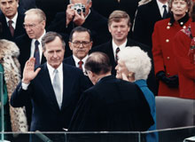 George H. W. Bush taking the oath of office, January 20, 1989 (Architect of the Capitol)