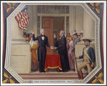 Andrew Jackson taking the oath of office, March 4, 1829 (Architect of the Capitol)