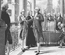 George Washington taking the oath of office, Federal Hall, New York City, April 30, 1789 (National Archives and Records Administration)