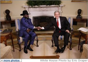 President George W. Bush shakes hands with the First Vice President of the Government of National Unity of Sudan and President of the Government of Southern Sudan Salva Kiir Mayardit during his visit Monday, Jan. 5, 2009, to the Oval Office of the White House.  White House photo by Eric Draper