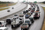 Photo of highway jammed with evacuating vehicles