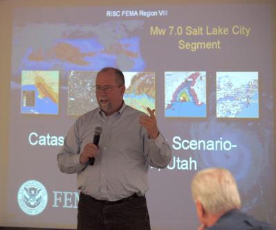 Denver, CO, November 20, 2008 -- Denver, CO, November 20, 2008 - Mark Tijerina gives a presentation to the Catastrophic Planning group on a large ...