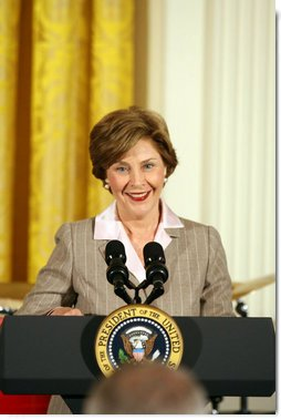 Mrs. Laura Bush delivers remarks at the Helping America's Youth Event Thursday Feb. 7, 2008, in the East Room of the White House. White House photo by Shealah Craighead