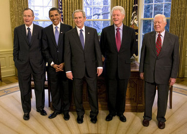 President George W. Bush meets with former Presidents George H.W. Bush, Bill Clinton and Jimmy Carter and President-elect Barack Obama Wednesday, Jan. 7, 2009 in the Oval Office of the White House. White House photo by Eric Draper