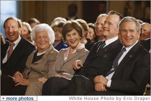 President George W. Bush and Mrs. Laura Bush are joined by his parents, former President George H. W. Bush and Mrs. Barbara Bush, during a reception in the East Room at the White House Wednesday, Jan. 7, 2008, in honor of the Points of Light Institute. President Bush's brother Neil is seen at far-left.  White House photo by Eric Draper