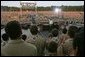 President George W. Bush addresses tens of thousands of Boy Scouts during the 2005 National Scout Jamboree in Fort A.P. Hill, Va., Sunday, July 31, 2005.  White House photo by Paul Morse