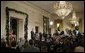 Reporters gather in the East Room of the White House Monday, Dec. 19, 2005, for the President's press conference. The President reiterated his constitutional responsibility and his constitutional authority to protect the country.  White House photo by Paul Morse