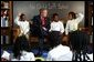 President George W. Bush greets fourth graders at the Pierre Laclede Elementary School in St. Louis, Mo., Monday Jan. 5, 2004.  White House photo by Tina Hager