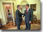 President Bush greets Senator Trent Lott before a lunch meeting March 5, 2001. White House photo by Eric Draper.