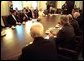 President Bush meets with bipartisan members of Congress to discuss the Department of Homeland Security Friday morning, June 7, 2002 in the Cabinet Room of the White House.