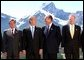 President George W. Bush and other leaders at the G8 Summit in Alberta, Canada, June 26. Pictured with the President from left are German Chancellor Gerhard Schroeder, French President Jacques Chirac and Canadian Prime Minister Jean Chretien.