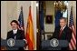 President George W. Bush and President Jose Maria Aznar of Spain hold a joint press conference in Cross Hall Wednesday, May 7, 2003.  White House photo by Tina Hager