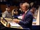President George W. Bush addresses the United Nations General Assembly in New York City on the issues concerning Iraq Thursday, September 12.