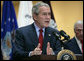 """President George W. Bush delivers a statement after visiting the Center for The Intrepid at the Brooke Army Medical Center in San Antonio, Texas, Thursday, Nov. 8, 2007. """" The servicemen and women here have borne the burdens of battle. They have kept our country safe. We honor them and their families by helping them with all we can."""" White House photo by Eric Draper"""