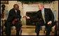 President George W. Bush welcomes President Joseph Kabila of the Democratic Republic of Congo to the Oval Office Friday, Oct. 26, 2007. Among the topics the leaders discussed during the visit were the successes of the newly elected Kabila government and the remaining challenges to a secure and prosperous Congo.  White House photo by Eric Draper