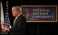 """President George W. Bush addresses the National Defense University's Distinguished Lecture Program Tuesday, Oct. 23, 2007, in Washington, D.C. Said the President, """"All of you who wear the uniform are helping to protect this country, and the United States of America is grateful for your service.""""  White House photo by Chris Greenberg"""