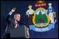 President George W. Bush speaks during the Maine Welcome in Bangor, Maine, Tuesday, Oct. 22.
