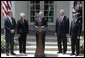 """President George W. Bush delivers a statement on CAFE and alternative fuel standards Monday, May 14, 2007, in the Rose Garden. Pictured with President Bush are, from left: Energy Deputy Secretary Clay Sell, Transportation Secretary Mary Peters, EPA Administrator Stephen Johnson and Agricultural Secretary Mike Johanns. """"Our dependence on oil creates a threat to America's national security, because it leaves us more vulnerable to hostile regimes, and to terrorists who could attack oil infrastructure,"""" said President Bush. White House photo by Joyce N. Boghosian"""