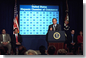 """President George W. Bush addresses the Hispanic Chamber of Commerce in the Presidential Hall at Dwight D. Eisenhower Executive Office Building March 6, 2002. """"I want everybody who wants to start their own business to feel comfortable in doing so, and have an opportunity to succeed in America,"""" said President Bush. White House photo by Tina Hager."""