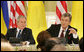 President George W. Bush and Ukraine's President Viktor Yushchenko attend a joint press availability Tuesday, April 1, 2008, during a joint press availability at the Presidential Secretariat in Kyiv.  White House photo by Chris Greenberg