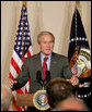 President George W. Bush gestures as he addresses his remarks Tuesday, Aug. 12, 2008, to the Coalition for Affordable American Energy at the Dwight D. Eisenhower Executive Office Building in Washington, D.C. President Bush said a comprehensive energy strategy should include the development of alternative energy technologies, conservation measures and more oil exploration on the Outer Continental Shelf. White House photo by Chris Greenberg