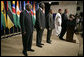 """Standing with the Presidents of Botswana, Ghana, Namibia, Mozambique and Niger, President Bush discussed the African Growth and Opportunity Act, AGOA, in the Dwight D. Eisenhower Executive Office Building Monday, June 13, 2005. """"All of us share a fundamental commitment to advancing democracy and opportunity on the continent of Africa,"""" said the President. """"And all of us believe that one of the most effective ways to advance democracy and deliver hope to the people of Africa is through mutually beneficial trade.""""  White House photo by Eric Draper"""