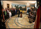 """President George W. Bush discusses the Iraq War Emergency Supplemental with the press in the Diplomatic Reception Room Friday, March 23, 2007. """"Today's action in the House does only one thing: it delays the delivering of vital resources for our troops,"""" said President Bush. White House photo by Eric Draper"""